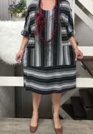 LUNA  jersey viscose strepen jurk