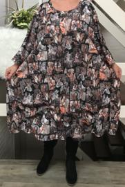 Olivia oversized A-lijn jersey jurk apart (extra groot)