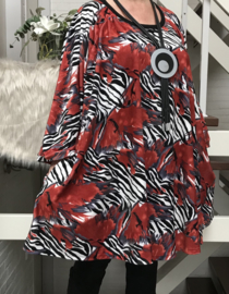 Grace oversized velours A-lijn tuniek/ jurk met zakken apart stretch (extra groot)