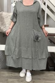 SINNE design.. A- lijn katoen/viscose jurk met capuchon