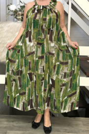 Gina oversized A-lijn zomer chiffon jurk met zakken  (extra groot)