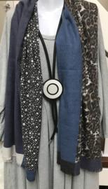 ITALIA zachte viscose sjaal grijs/beige/blauw