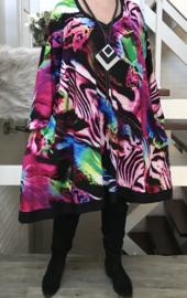 Ella oversized viscose jersey A-lijn jurk/tuniek met zakken apart stretch  (extra groot)stretch