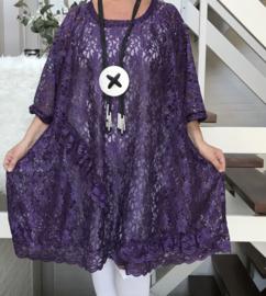 Lucy oversized A-lijn KANTEN jurk/tuniek apart (extra groot) stretch