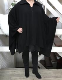 Vincenzo Allocca jersey  gebreid  poncho/vest met ritssluiting zwart