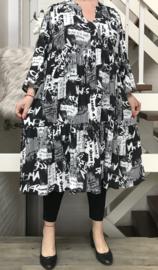 Vincenzo Allocca viscose A-lijn jurk  zwart/wit
