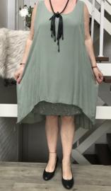 ITALIA viscose A-lijn jurk met pailletten inzet /gevoerd /in meerdere kleuren