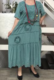 ITALIA  katoen  A-lijn jurk met inzet van jersey stof  apart/in meerdere kleuren