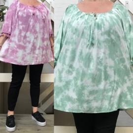 ITALIA de modieuze kleuring oversized viscose A-lijn blouse /in meerdere kleuren