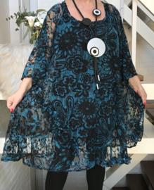 Estelle oversized A-lijn KANTEN jurk/tuniek apart (extra groot) stretch