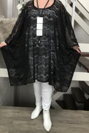 Nadia oversized KANTEN poncho/tuniek apart (extra groot) stretch