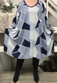 Melanie  oversized jersey A-lijn jurk/tuniek met zakken apart stretch  (extra groot)