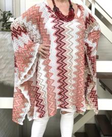 Linda oversized KANTEN poncho/tuniek apart (extra groot) stretch