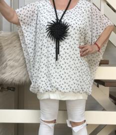 ITALIA MODA oversized viscose blouse met band aan de onderkant/in meerdere kleuren