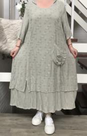 SINNE design.. A- lijn linnen/viscose jurk met capuchon