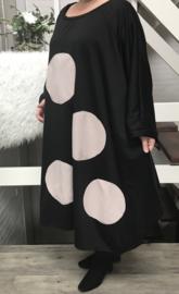 Janet oversized A-lijn viscose jurk apart (extra groot)stretch zwart