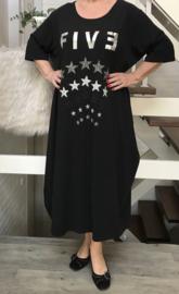 Vincenzo Allocca katoen ballon jurk zwart/zilver five