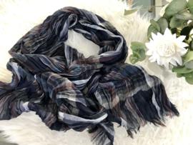 Italia geruite sjaal donkerblauw