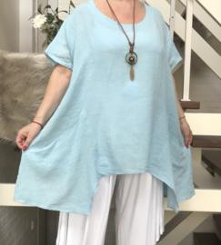 ITALIA oversized linnen/katoen  A-lijn top met ketting /in meerdere kleuren