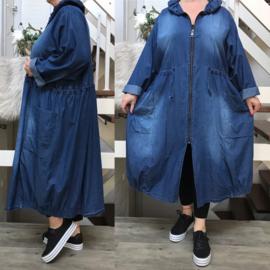 La Bass jeans katoen blazer/vest met ritssluiting