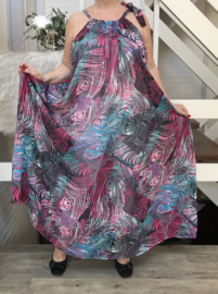 Paulina oversized A-lijn zomer chiffon jurk met zakken  (extra groot)
