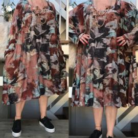 Kinsley oversized viscose jersey A-lijn jurk/tuniek met zakken apart(extra groot)stretch