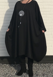 Olivia oversized A-lijn jersey jurk apart (extra groot) zwart
