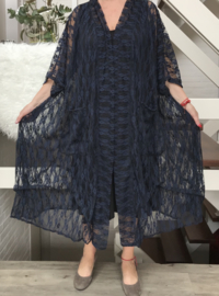 Lilian  oversized A-lijn kanten blazer/jas  (extra groot)  apart donkerblauw