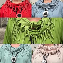 Moonshine cirkel strepen sjaal met franjes apart/ smal model/in meerdere kleuren