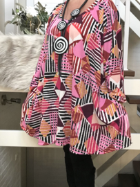 Emily oversized jersey A-lijn tuniek/ jurk met zakken apart stretch  (extra groot)