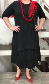 ITALIA  jersey katoen A-lijn jurk zwart