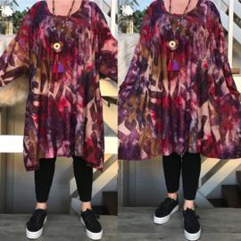 Ninka oversized viscose jersey A-lijn jurk/tuniek met zakken apart(extra groot)stretch