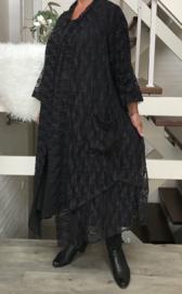 Ina oversized A-lijn kanten blazer/jas  (extra groot)  apart zwart