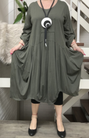 ITALIA MODE katoen asymmetrisch A-lijn jurk/ stretch /in meerdere kleuren