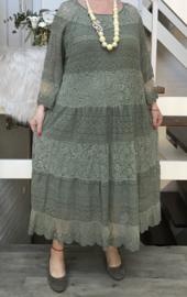 ITALIA katoen A-lijn KANTEN jurk stretch gevoerd)/in meerdere kleuren