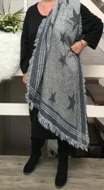 Italia super zacht winter viscose/wol dubbelzijdig sjaal grijs