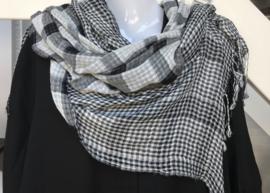 Italia viscose geruite sjaal zwart/wit dubbelzijdig