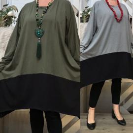 ITALIA katoen oversized A-lijn jurk/tuniek stretch   /in meerdere kleuren
