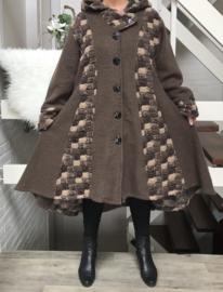 Moonshine oversized gevoerde A-lijn mantel/ jas met capuchon wol/viscose