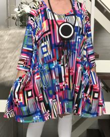 Ziva oversized A-lijn jersey tuniek/jurk met zakken apart (extra groot)