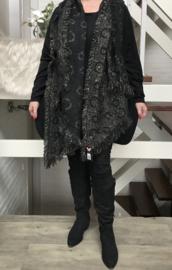 Italia super zacht winter viscose/katoen dubbelzijdig sjaal zwart