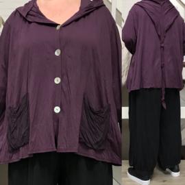 Moonshine oversized jersey  katoen vest met capuchon stretch /in meerdere kleuren
