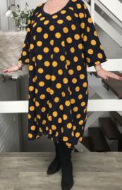 Claire oversized A-lijn katoen/linnen jurk met zakken apart (extra groot)donkerblauw stretch