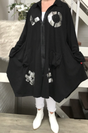 Vincenzo Allocca katoen jersey A-lijn blazer met ritssluiting stretch zwart/silver