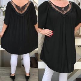 ITALIA oversized katoen blouse/tuniek  met kant zwart