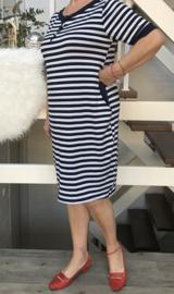 ITALIA oversized strepen tricot katoen jurk/tuniek/in meerdere kleuren