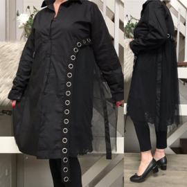 SU ITALIA hemd/tuniek met inzet van tule apart  zwart