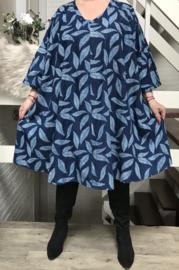 Laura oversized A-lijn zachte jeans tuniek/jurk met zakken apart (extra groot)