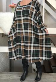 Gloria oversized A-lijn ruiten jersey jurk apart (extra groot)