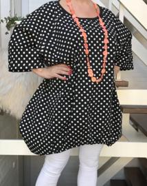 Eleanor oversized A-lijn katoen tuniek/jurk met zakken apart (extra groot)zwart/wit